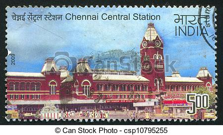 Stock Images of Chennai Central station.
