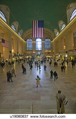 Picture of Grand Central Station panoramic view with American Flag.