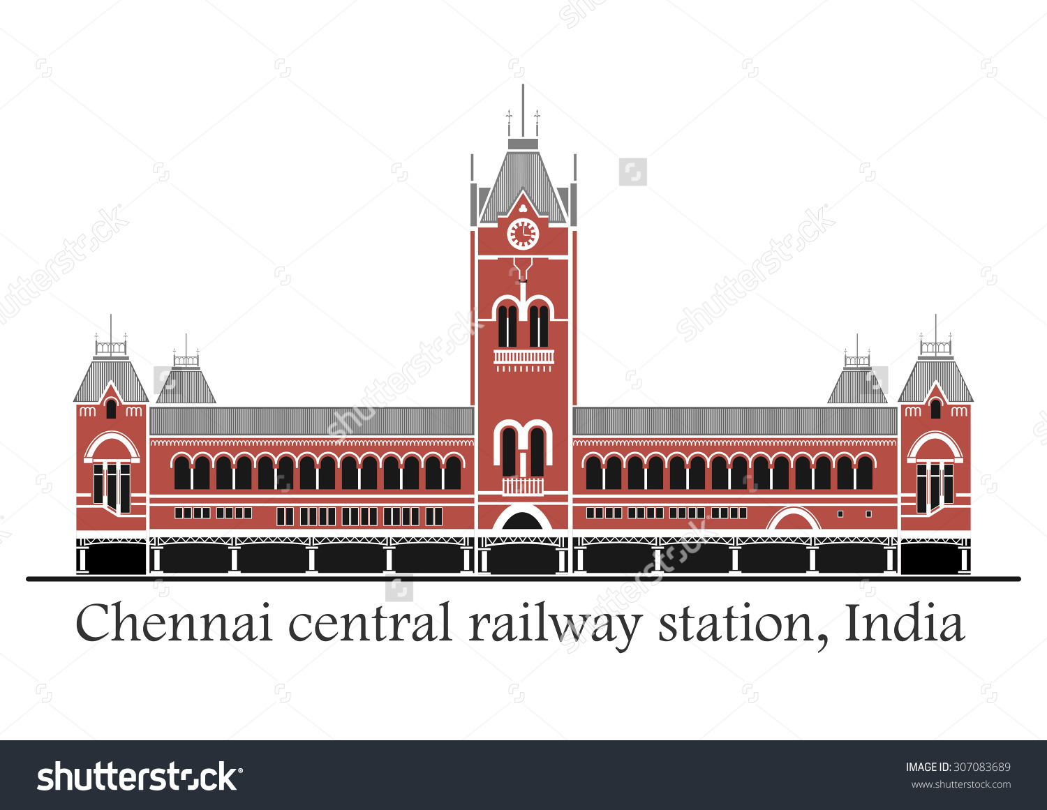Vector Illustration Chennai Central Station India Stock Vector.