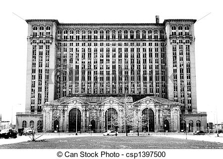 Stock Photography of Michigan Central Station, Detroit, Michigan.