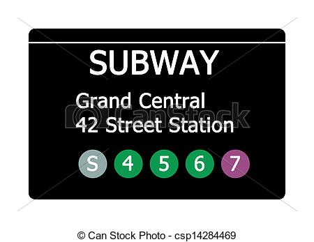Stock Image of Grand Central Station subway sign.