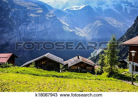 Stock Photo of View of the Swiss alps: Beautiful Gimmelwald.
