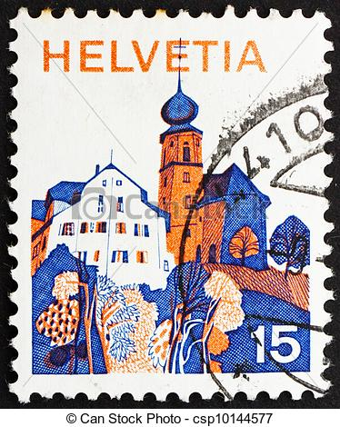 Picture of Postage stamp Switzerland 1973 Village in Central.