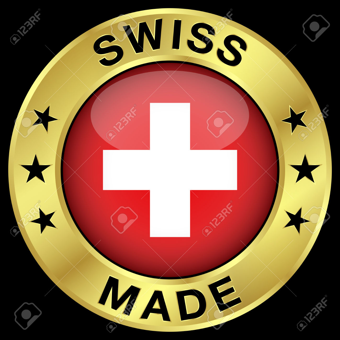 Made In Switzerland Gold Badge And Icon With Central Glossy Swiss.