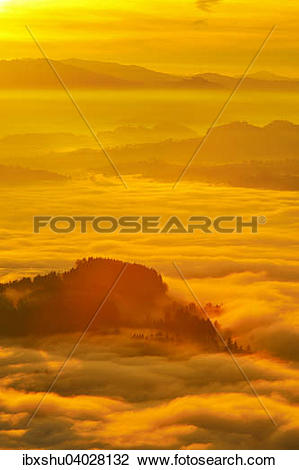 Stock Photo of View from Mount Rigi over the Swiss Plateau or.