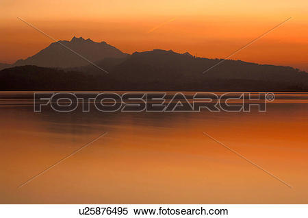 Stock Image of Central Switzerland, evening atmosphere, huwiler.