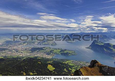 Stock Photography of Lake Lucerne and Lucerne, view from Mount.
