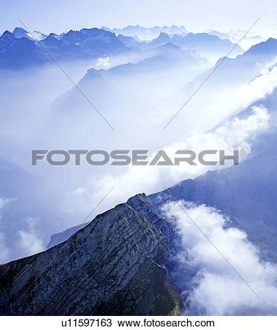 Stock Photo of wolkenmeer, aerial perspective, alpenlandschaft.