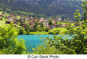 Stock Photographs of Landscape with a little village in central.