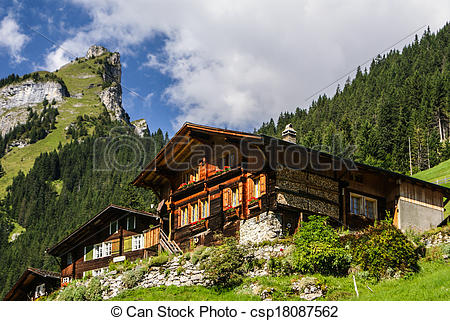 Stock Image of View of the Swiss alps: Beautiful Gimmelwald.