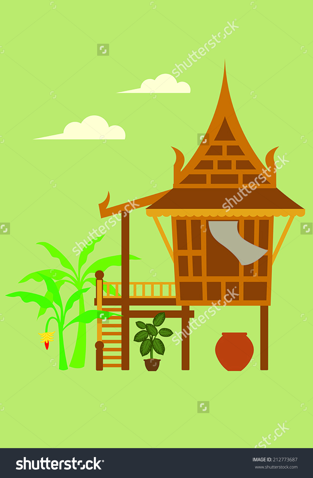 Traditional House Style Central Thailand Stock Vector 212773687.