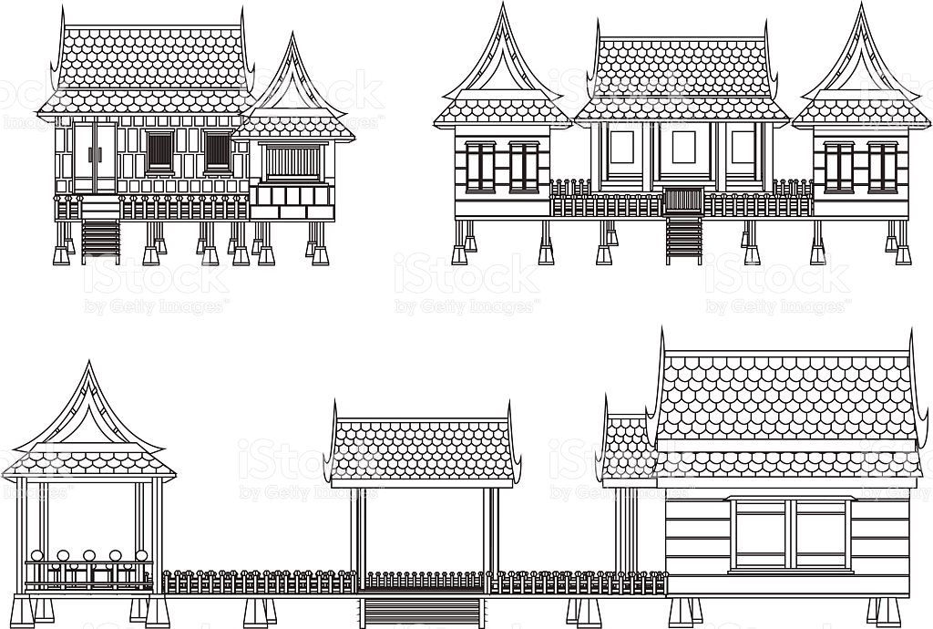 House Of Central Thailand stock vector art 478827604.