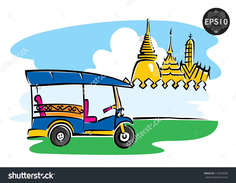 Central Thailand Tuk Tuk Front Grand Stock Vector 112033838.