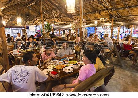 Stock Photo of Inside a traditional restaurant, Kanchanaburi.