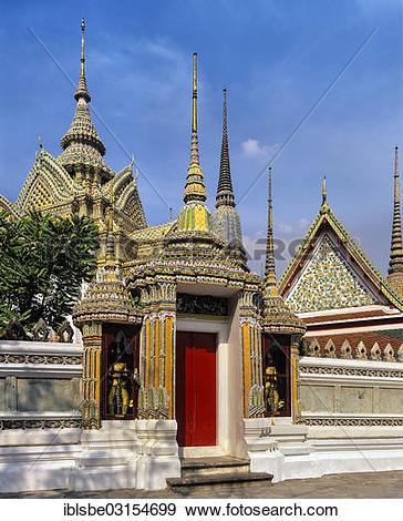 "Stock Photograph of ""Wat Pho Temple, Phra Mondop library, chedi."