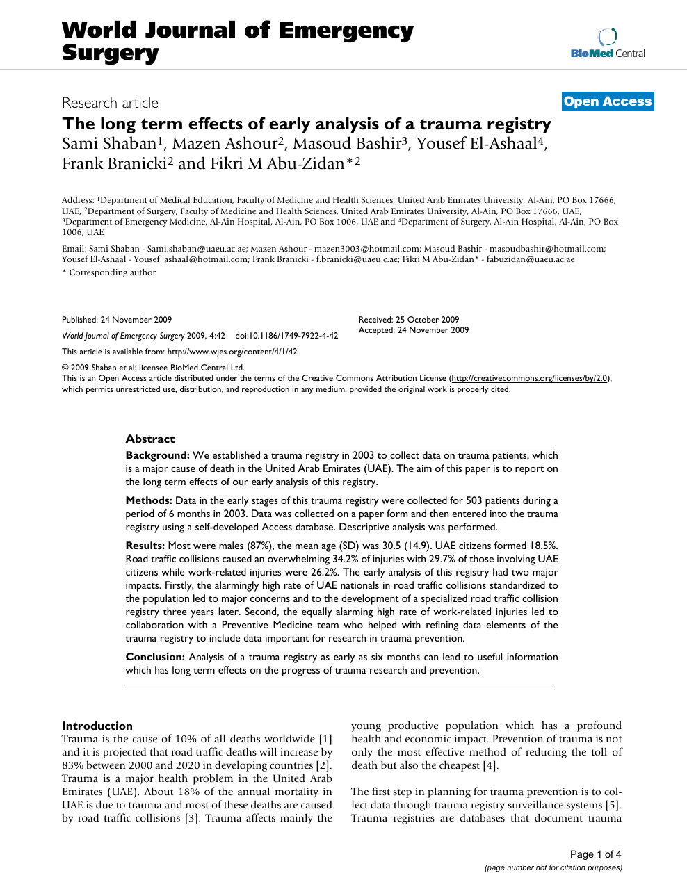 The long term effects of early analysis of a trauma registry.
