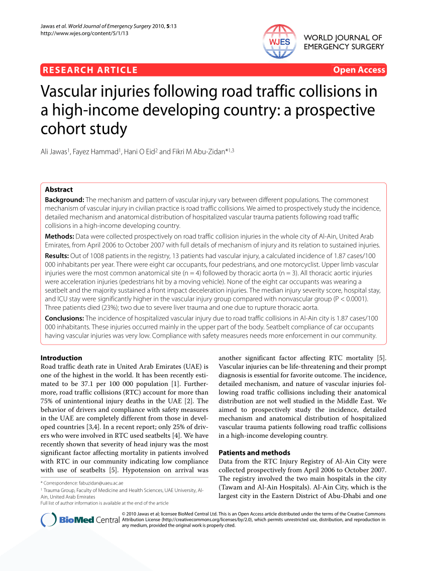 PDF) Vascular injuries following road traffic collisions in a high.