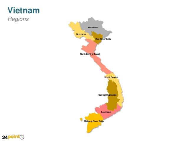 Editable PPT Map of Vietnam.