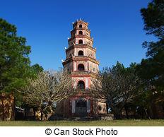 Picture of Bonsai garden at Thien Mu Pagoda, Hue, Central Vietnam.