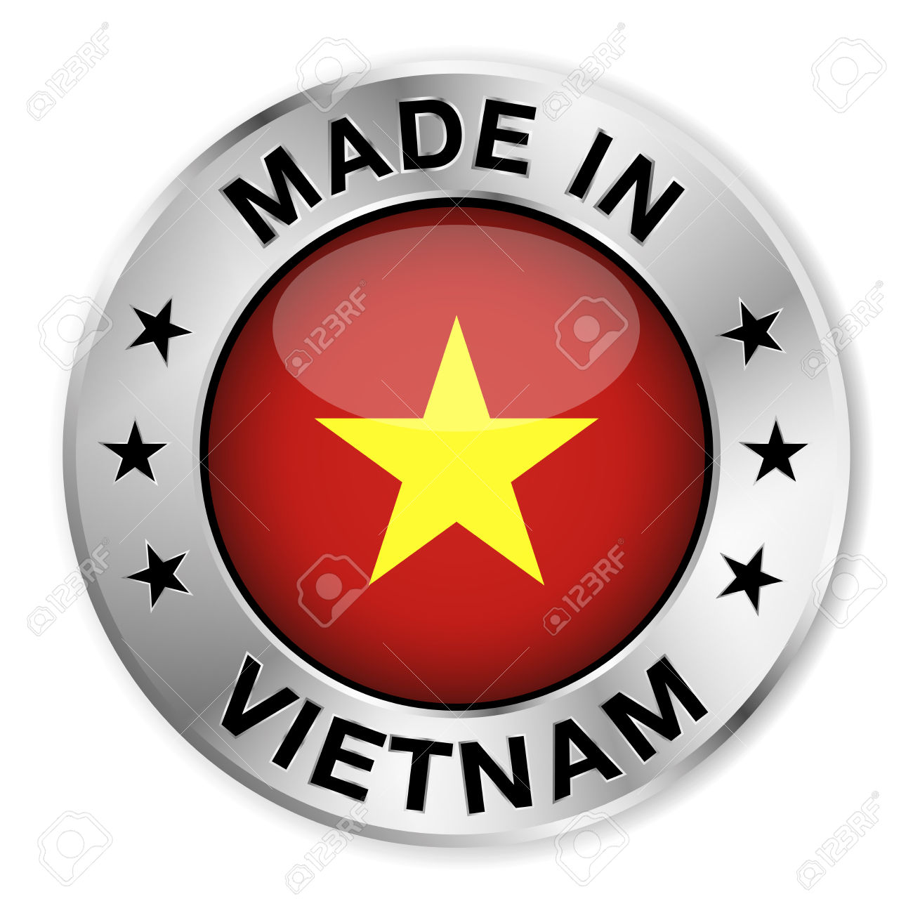 Made In Vietnam Silver Badge And Icon With Central Glossy.