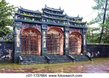 Stock Photo of Tam Quan triple gate, tomb of Emperor Minh Mang, Hu.