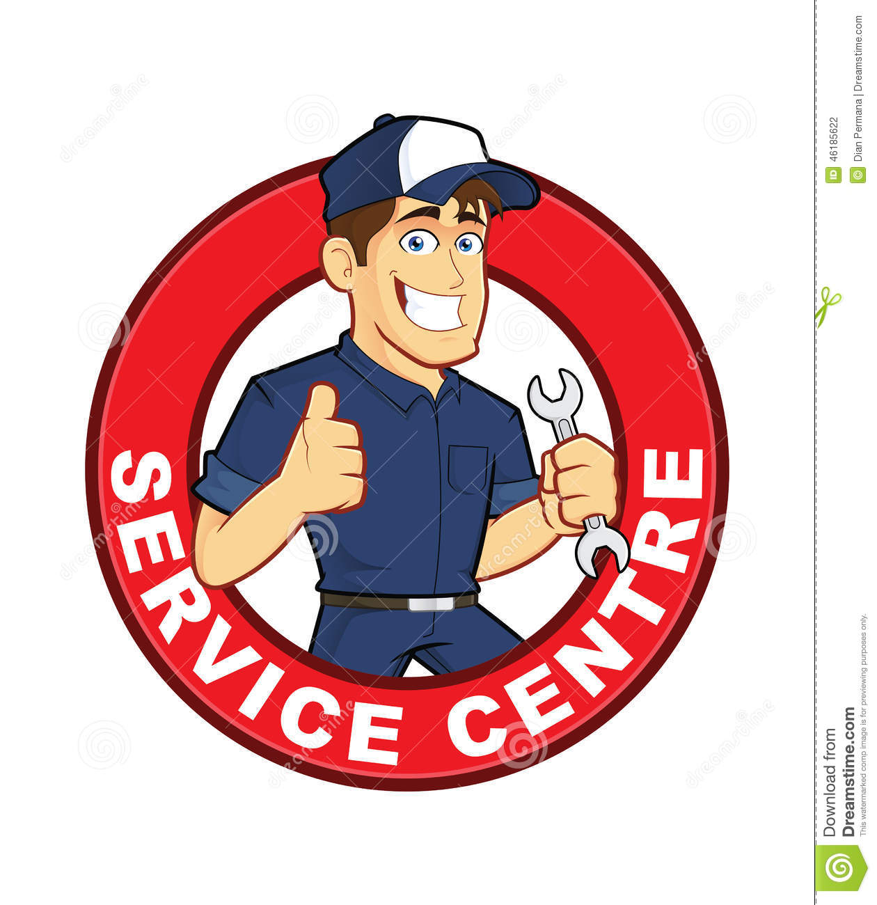 Mechanic Service Centre Stock Vector.