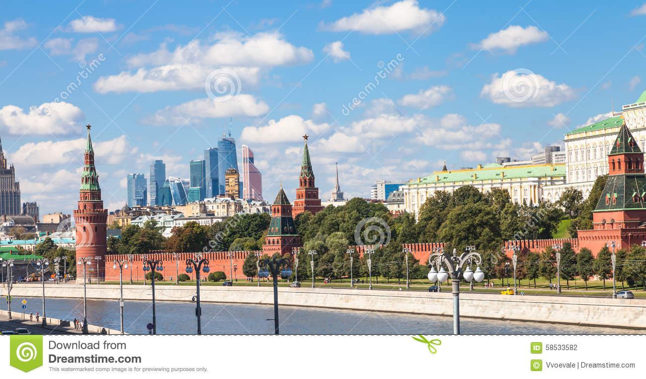 Moscow City Skyline With Kremlin Stock Photo.