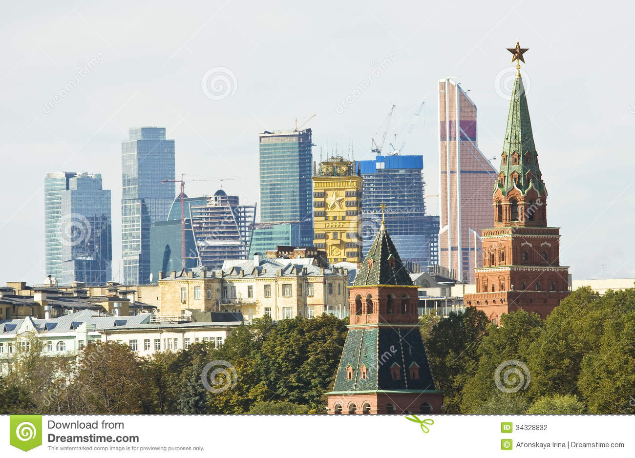 Moscow, Kremlin And Modern Skyscrapers Stock Photography.