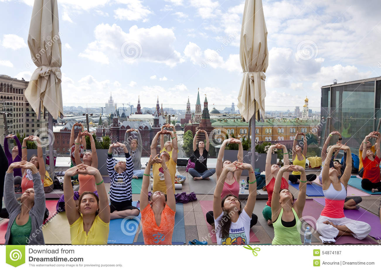 Sun Salutation (Surya Namaskara) In The Centre Of Moscow, Russia.