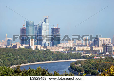 Pictures of Moscow city urban view. construction of high building.
