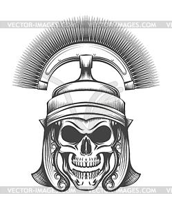 Skull in Rome Empire Centurion Helmet.