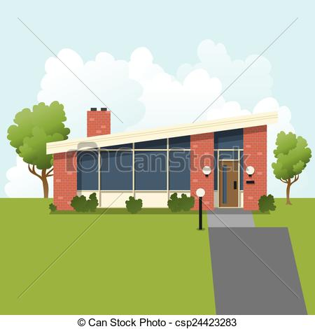 Vector of Retro Suburban House.