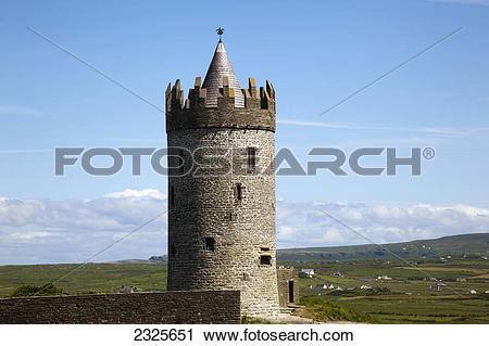 Stock Photography of Doonagore castle a round 16th.