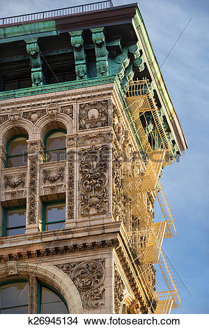 Stock Photo of Late 19th century building facade in Soho.