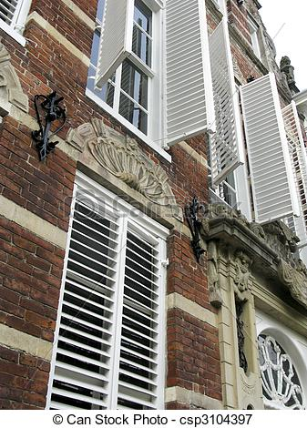Picture of Shutters of an old 17th century building in the.