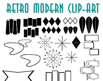 Mid century modern clip art.