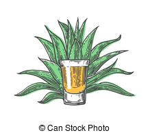 Clip Art of agave plant silhouette.