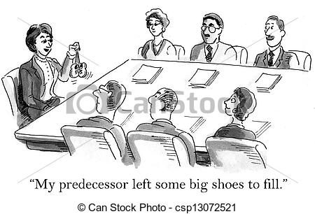 Clip Art of The ceo left baby shoes to fill.