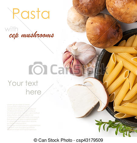 Stock Illustration of cep mushrooms with pasta penne.