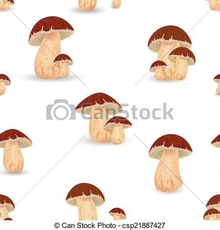 Vector Illustration of Seamless texture with Edible mushroom cep.