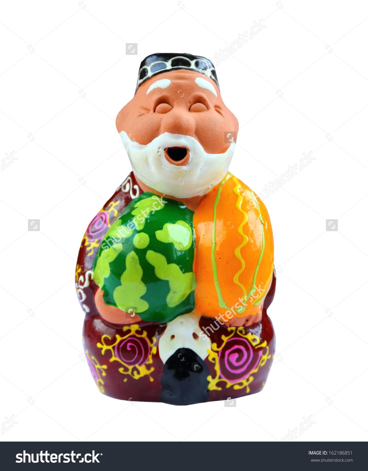 Little Ceramic Figure Happy Old Man Stock Photo 162186851.