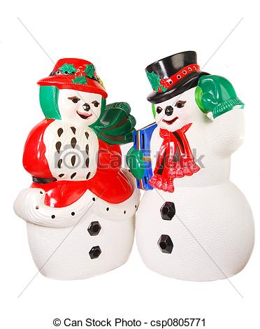 Stock Photography of Mr. And Mrs. Snowman.