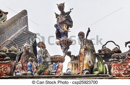 Stock Photography of Ceramic Figures Dragons Chen Ancestral Taoist.