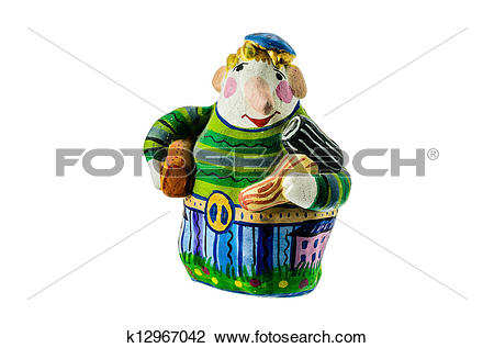 Clip Art of Ceramic whistle in the form of figures of man.