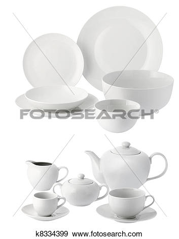 Stock Photograph of ceramic plates and cups k8334399.