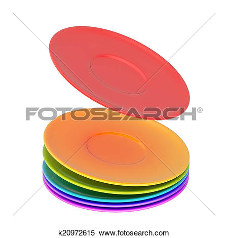 Stock Illustration of Dynamic pile of ceramic plates isolated.