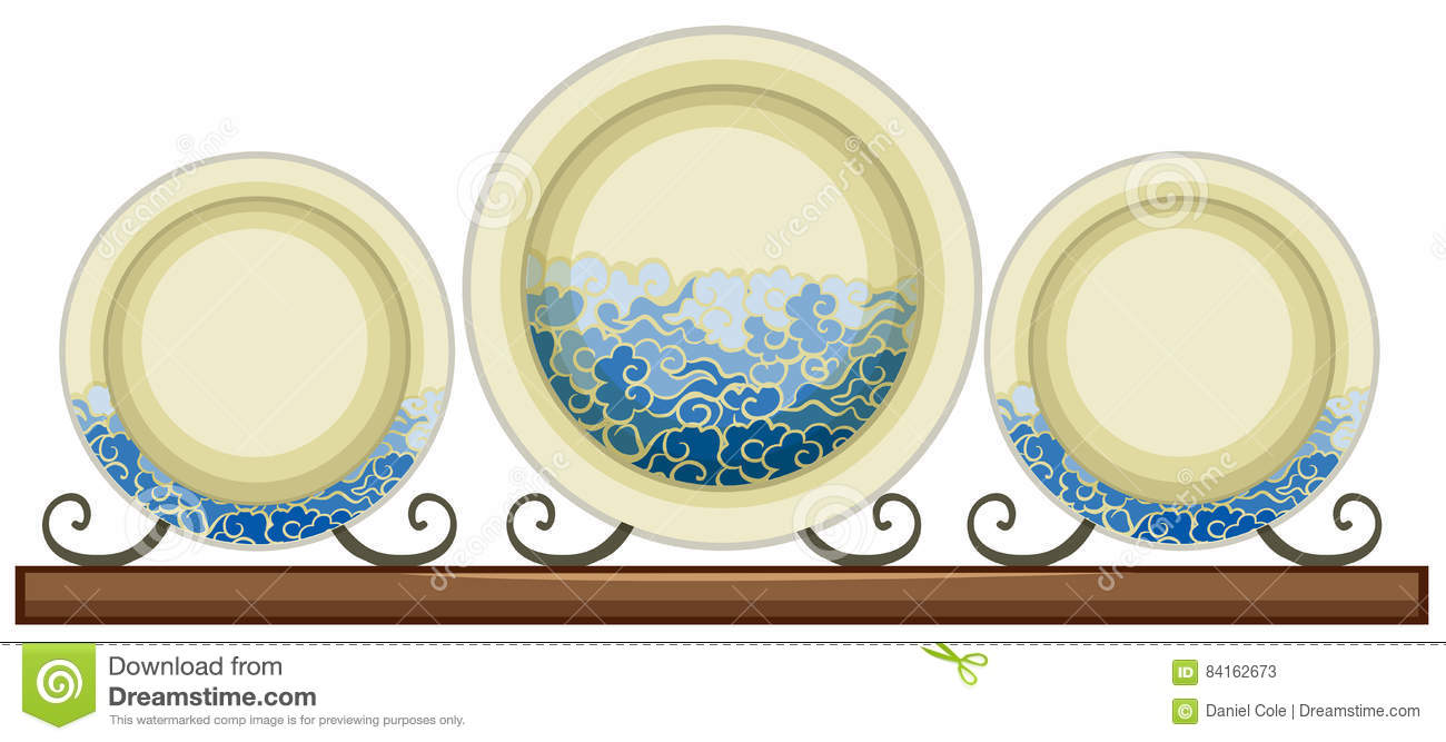 Antique Ceramic Plates With Painted Waves Stock Vector.