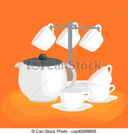 Vector Clipart of Kitchen household cutlery clean teacups and.