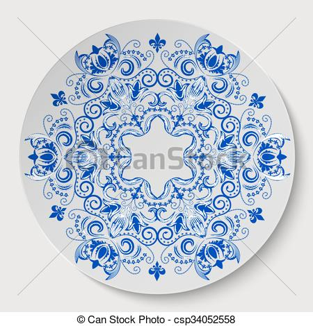 Clipart Vector of Blue round floral ornament. Pattern applied to.