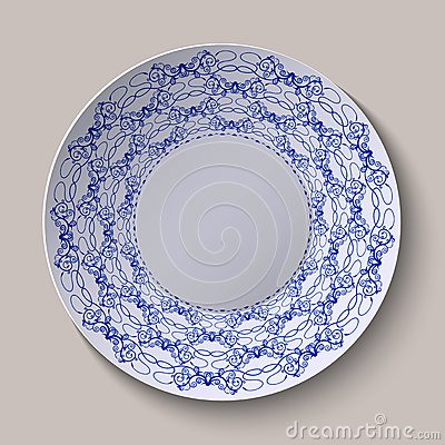 Round Blue Floral Ornament Gzhel Style. Pattern Shown On The.